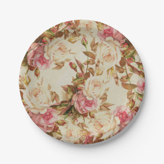 Chic vintage pink white brown roses floral pattern paper plate