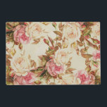 """Chic vintage pink white brown roses floral pattern placemat<br><div class=""""desc"""">A chic vintage pastel pink , white and brown roses floral pattern.An elegant girly pink romantic stylish flowers design on vintage white background.Get this shabby chic old painting of cute pastel colors floral roses design pattern for her or anyone on any occasion.</div>"""