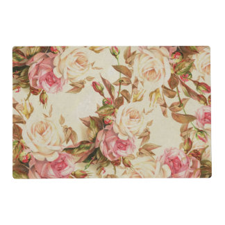 Chic vintage pink white brown roses floral pattern placemat