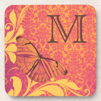 Chic Vintage Pink Yellow Butterfly Damask Pattern Drink Coaster