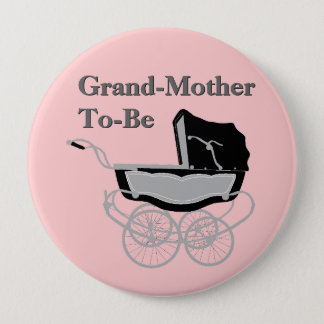 Chic Vintage Pram Grandmother's Baby Shower Button