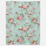 Chic Vintage Pretty Pink Red Roses Floral Pattern Fleece Blanket at Zazzle