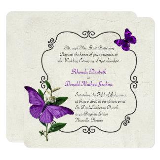 Good Chic Vintage Purple Butterflies Wedding Invitation