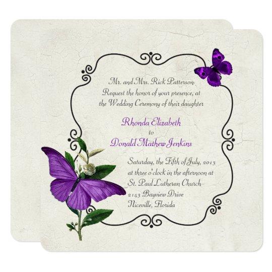 Chic Vintage Purple Butterflies Wedding Invitation Zazzlecom
