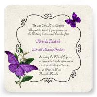 Chic Vintage Purple Butterflies Wedding Invitation (<em>$2.35</em>)