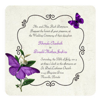 "Chic Vintage Purple Butterflies Wedding Invitation 5.25"" Square Invitation Card"