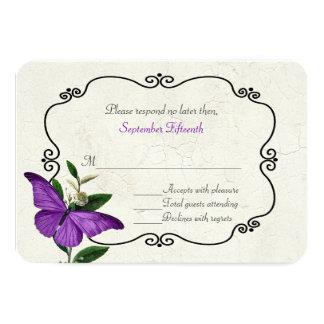 Chic Vintage Purple Butterflies Wedding RSVP Card