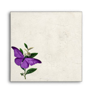 Chic Vintage Purple Butterfly Wedding Envelope