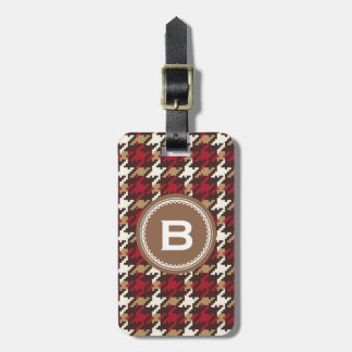 Chic vintage red brown houndstooth plaid monogram tags for bags