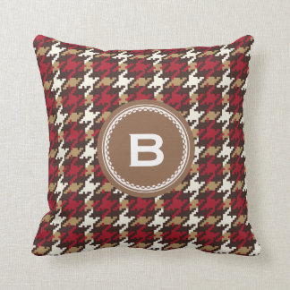 Chic vintage red brown houndstooth plaid monogram pillows