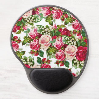 Chic vintage red pink roses flowers pattern gel mouse pad
