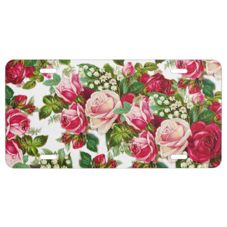 Chic vintage red pink roses flowers pattern license plate