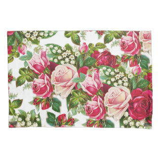 Chic vintage red pink roses flowers pattern pillow case
