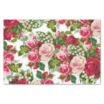 Chic Vintage Red Pink Roses Flowers Pattern Tissue Paper at Zazzle