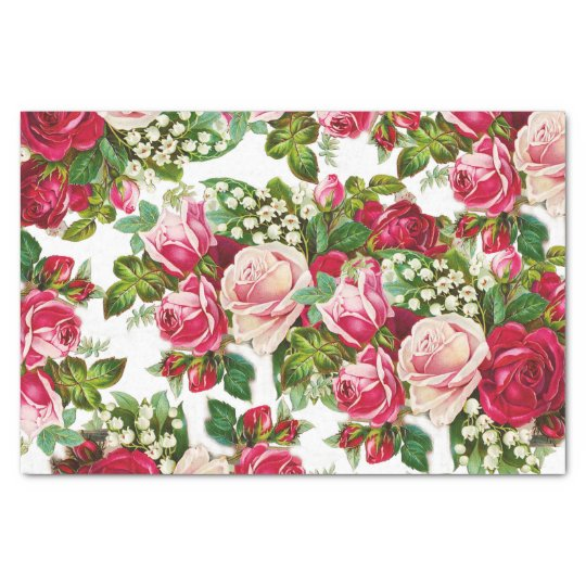 Chic vintage red pink roses flowers pattern tissue paper zazzle chic vintage red pink roses flowers pattern tissue paper mightylinksfo