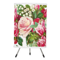 Chic vintage red pink roses flowers pattern tripod lamp