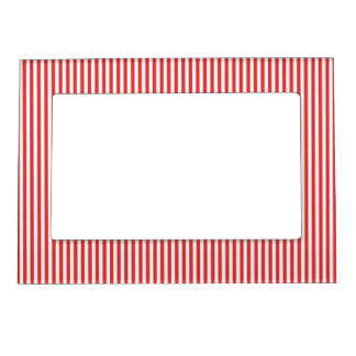 Chic Vintage Red White Stripes Pattern Magnetic Photo Frames