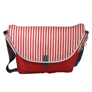 Chic Vintage Red White Stripes Pattern Courier Bag