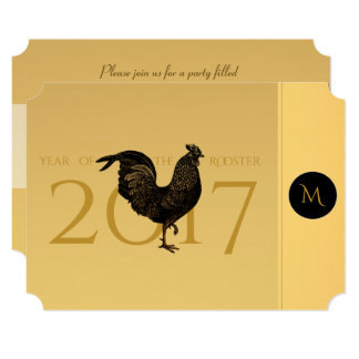 Chic Vintage Rooster Chinese New Year Party 2017 Card