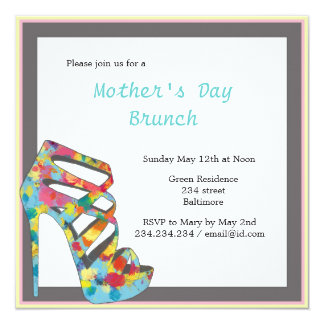 Chic Vintage Roses High Heel Mothers Day Brunch 5.25x5.25 Square Paper Invitation Card