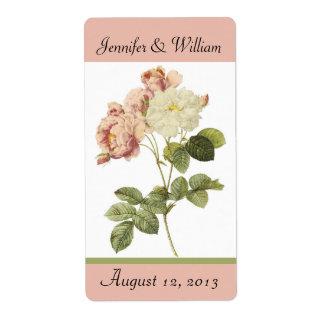 Chic Vintage Roses Wedding Mini Wine Label Shipping Label
