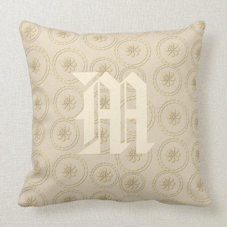 Chic Vintage Style Monogram Cream Beige Pillow
