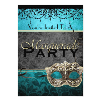 Chic Vintage Teal Masquerade Invitations