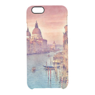 Chic Vintage Venice Canal Pastel Watercolor Art Clear iPhone 6/6S Case