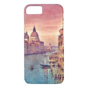 Chic Vintage Venice Canal Pastel Watercolor Art iPhone 8/7 Case
