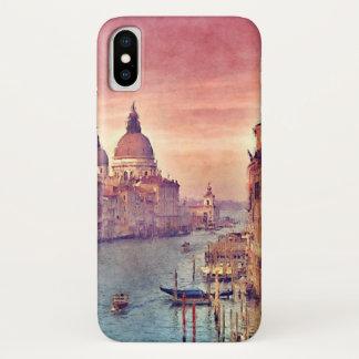 Chic Vintage Venice Canal Pastel Watercolor Art iPhone X Case