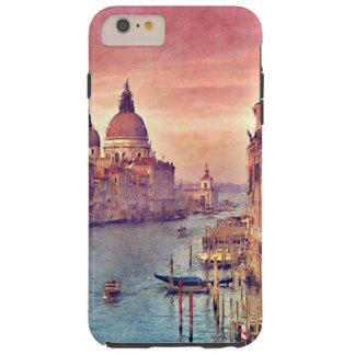 Chic Vintage Venice Canal Pastel Watercolor Art Tough iPhone 6 Plus Case