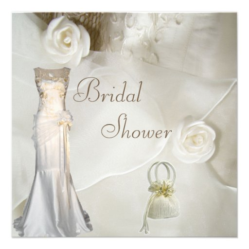 Chic Vintage Wedding Gown Bridal Shower Invitations