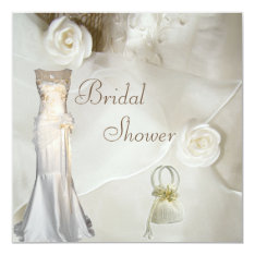 Chic Vintage Wedding Gown Bridal Shower 5.25x5.25 Square Paper Invitation Card at Zazzle