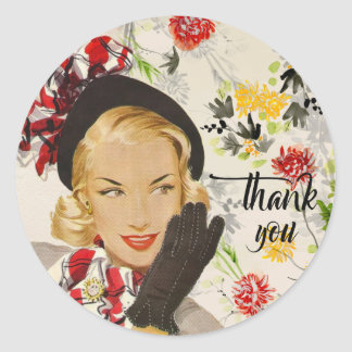 "Chic, Vintage Woman ""Thank You"" Classic Round Sticker"