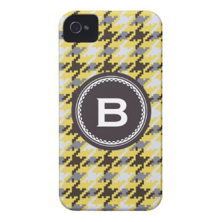 Chic vintage yellow houndstooth plaid monogram iPhone 4 cover