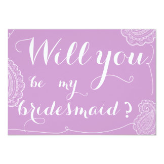 "Chic Violet Paisley Will You Be My Bridesmaid 5"" X 7"" Invitation Card"