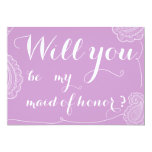 """Chic Violet Paisley Will You Be My Maid Of Honor 5"""" X 7"""" Invitation Card"""