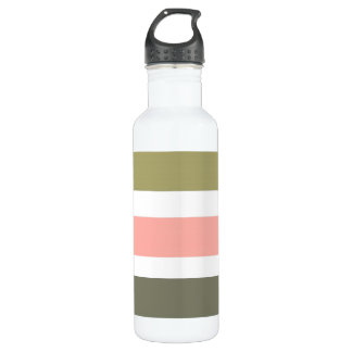 CHIC WATER BOTTLE_BOLD STRIPES_ PEACH AND BROWNS WATER BOTTLE