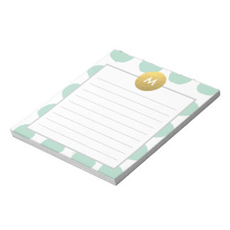 Chic Watercolor and Gold Monogram Min Note Pad