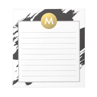 Chic Watercolor and Gold Monogram Note Pad