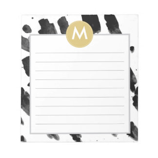 Chic Watercolor and Gold Monogram Post it Notes Note Pad
