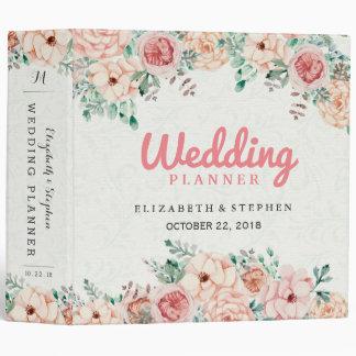 Chic Watercolor Botanical Floral Wedding Planner 3 Ring Binder