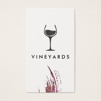 Chic Watercolor Brush Stroke and Rustic Wine Glass Business Card