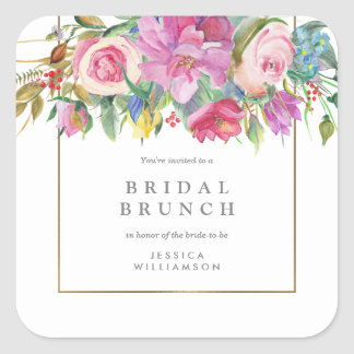 Chic Watercolor Floral Bridal Brunch Square Sticker