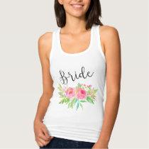 Chic watercolor Floral Bride Tank Top