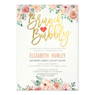 Chic Watercolor Floral Brunch Bubbly Bridal Shower Card