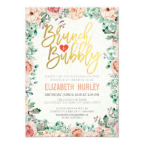 Chic Watercolor Floral Brunch Bubbly Bridal Shower Invitation