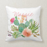 "Chic Watercolor Floral,Cactus Personalized Throw Pillow<br><div class=""desc"">for her</div>"