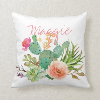 Chic Watercolor Floral,Cactus Personalized Throw Pillow