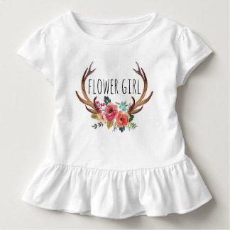 Chic Watercolor Floral Deer Horn /Flower Girl-9 Toddler T-shirt